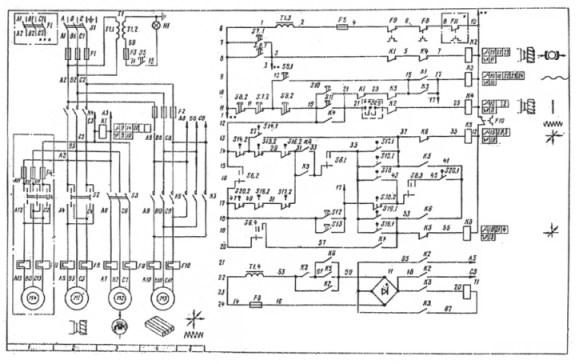 Электрическая схема фрезерного